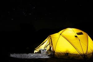 Yellow camping tent